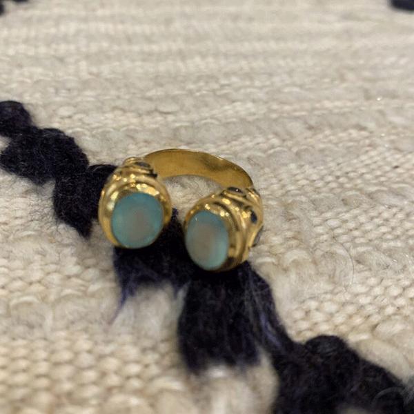 Bague duo, plaqué or, opale et améthyste – Diaperis