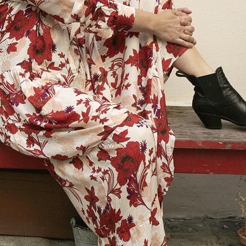 Robe longue en Viscose, imprimée fleurs rouge et rose surfons blanc – HOD